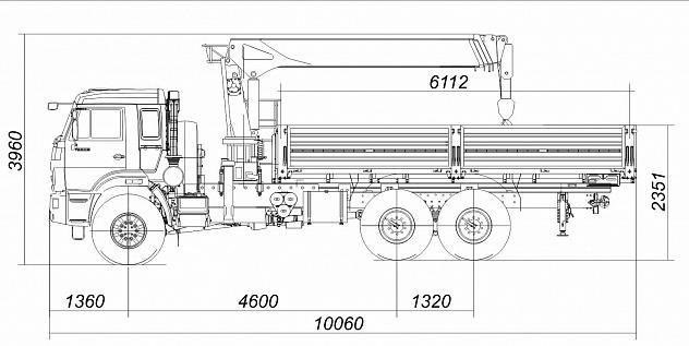 Бортовой автомобиль 65861-1200-06 с КМУ Kanglim KS1256G-II на шасси КАМАЗ-43118