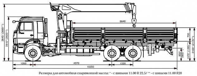 Бортовой автомобиль 6586-1200-01 с КМУ Kanglim KS1256G-II на шасси КАМАЗ-65117