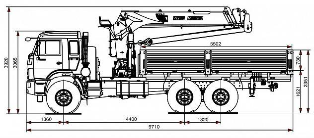 Бортовой автомобиль 65861-320-05 с КМУ PALFINGER INMAN IT-180 на шасси КАМАЗ-43118